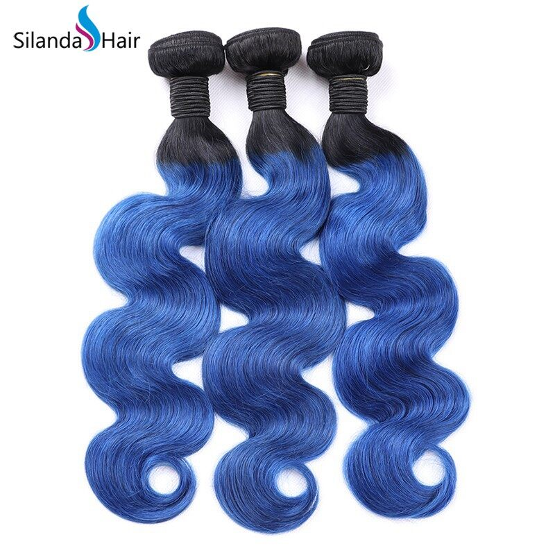 Silanda Ombre Color #T 1B/Blue Body Wave Bundles Human Hair Weaves Weft 3 Bundles/Pack