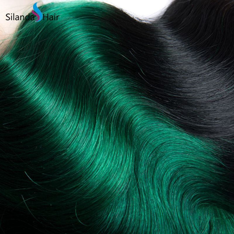 Silanda #T 1B/Green Body Wave Bundles Brazilian Remy Hair 3 Weaving Bundles/Pack