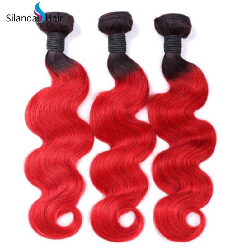 Silanda Two Color #T 1B/Red Body Wave Bundles 3 Weaving Bundles/Pack