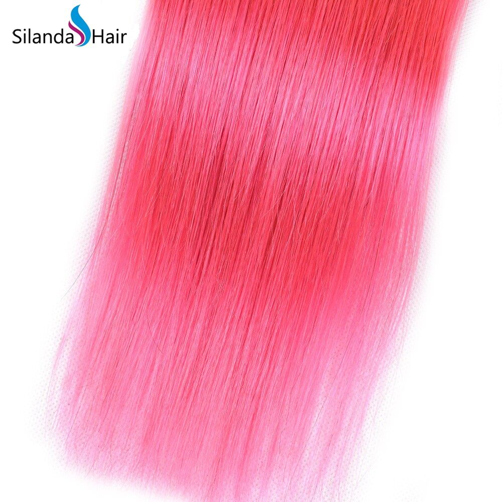 Silanda Hair Pure Color Pink Brazilian Remy Human Hair Weft Bundles Straight Hair Weaves 3pcs/pack