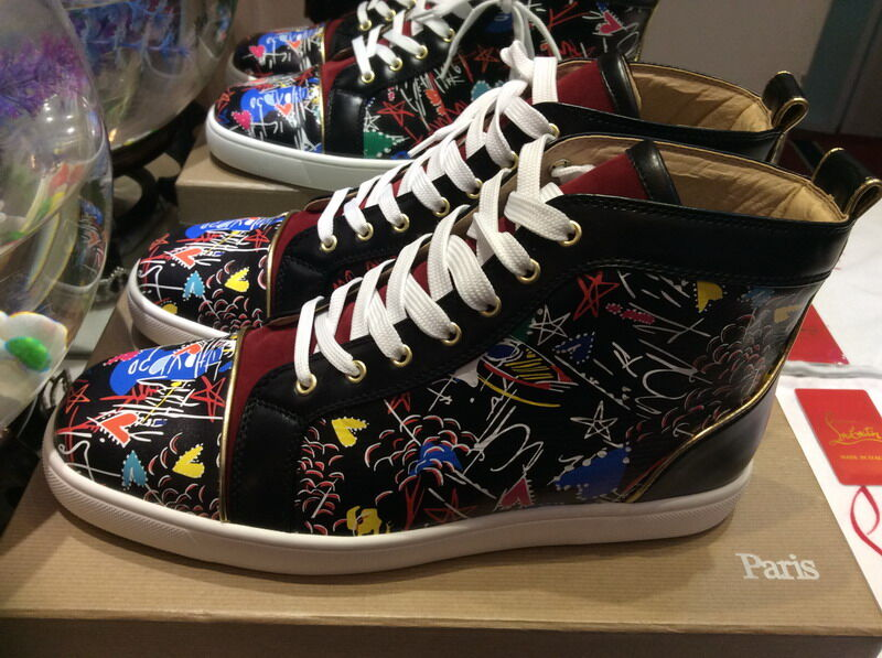 uk availability 3cde2 07c5a MBSn992Zw Size 35-47 Men Women Black Leather Wine Red Flock With Graffiti  High Top Lace Up New Fashion Red Bottom Sneakers