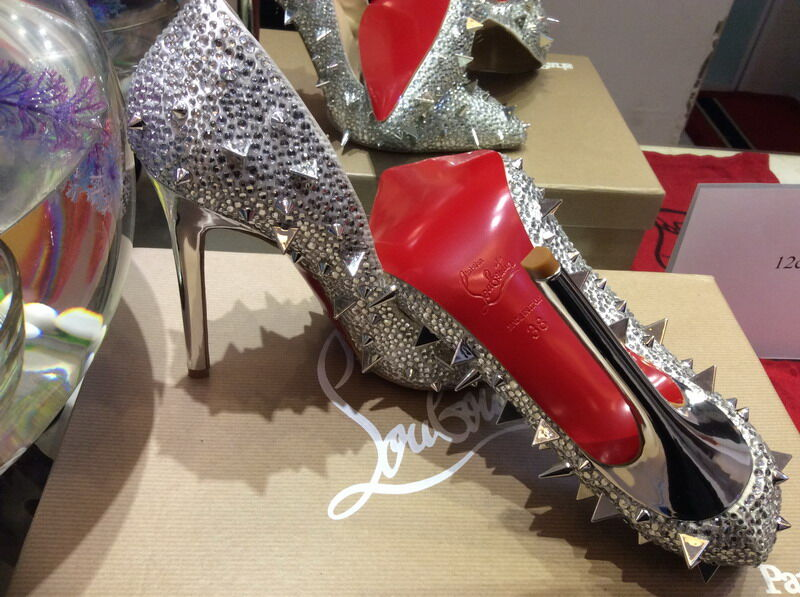 best loved d7151 395a6 WBP987Za Size 34-42 Women 12cm High Heels Silver Genuine Leather Mixed  Spikes With Rhinestone Red Bottom Pumps