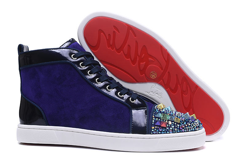 wholesale dealer d7190 e9ceb MBSn988F Size 35-47 Men Women Purple Suede Colorful Rhinestone With Spikes  Toe High Top Red Bottom Sneakers