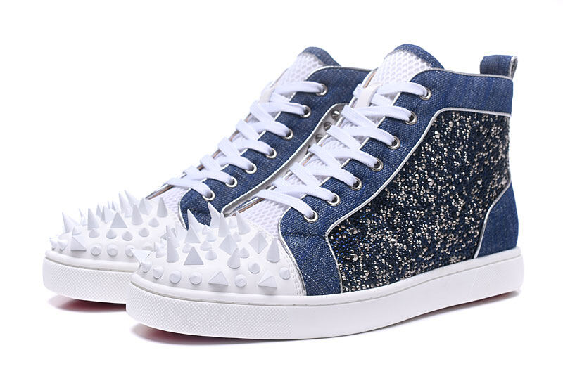 0a4fd979d5f5  MBSn988G Size 35-47 Men Women Blue Denim White Leather Inside With Silver  Spikes Red Bottom Sneakers