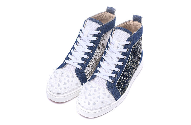Mbsn988g Size 35 47 Men Women Blue Denim Outside Rhinestone White Leather Inside With Silver Spikes Red Bottom Sneakers