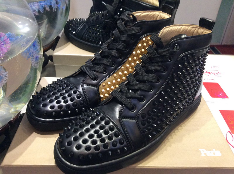 best service 08fe6 017fa MBSn997Zt Size 35-47 Men Women Black Leather Inside Gold With Spikes High  Top Red Bottom Fashion Sneakers