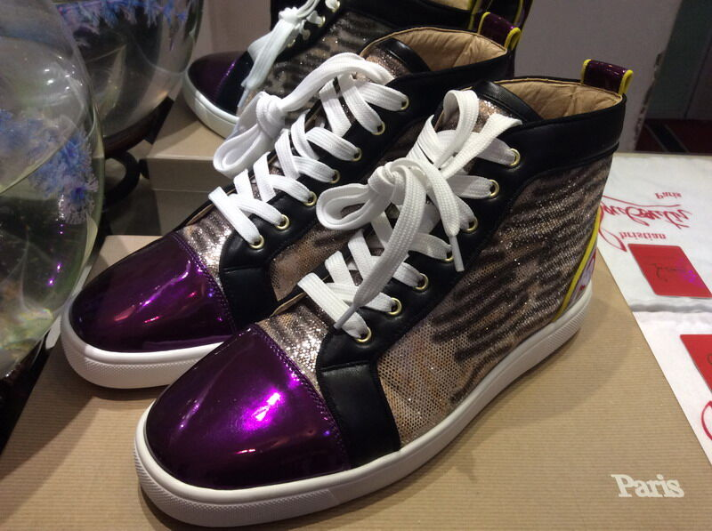 new style ea678 c9d8c MBSn991Zm Size 35-47 Men Women Purple Patent Leather Leopard Printed  Glitter High Top Lace Up New Fashion Red Bottom Sneakers