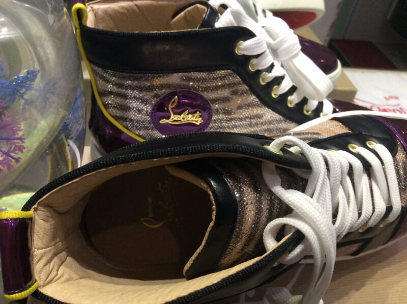b27c4f6e6c6 MBSn991Zm Size 35-47 Men Women Purple Patent Leather Leopard Printed  Glitter High Top Lace Up New Fashion Red Bottom Sneakers