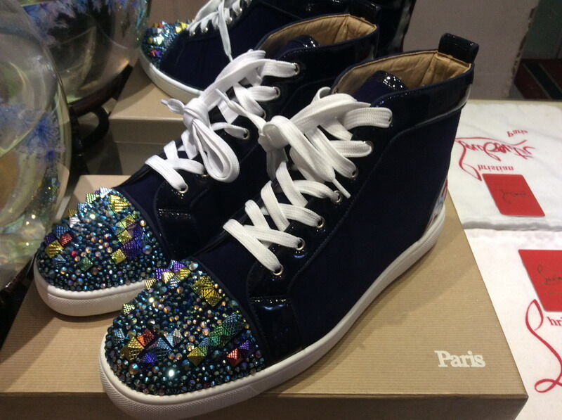 b08616d5560c  MBSn988K Size 35-47 Men Women Dark Blue Suede With Rhinestone Spikes Toe  High Top New Fashion Red Bottom Sneakers