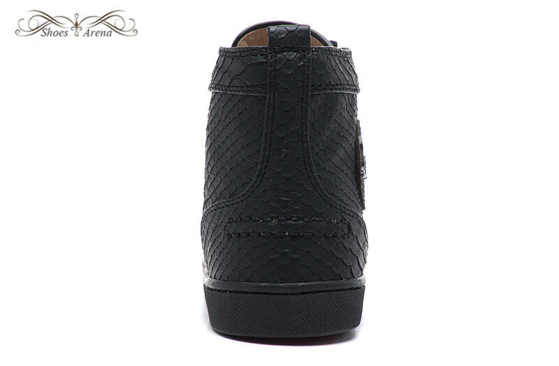0d28ea0469e MBSn993A Size 35-47 Men Women Black Snake Printed Leather High Top Lace Up  New Fashion Red Bottom Sneakers