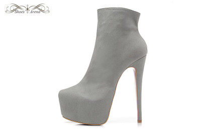 a6d737e1f65 WBB998F Size 34-42 Women s 16cm High Heels Gray Suede Pointed Toe Fashion  Ankle Zip