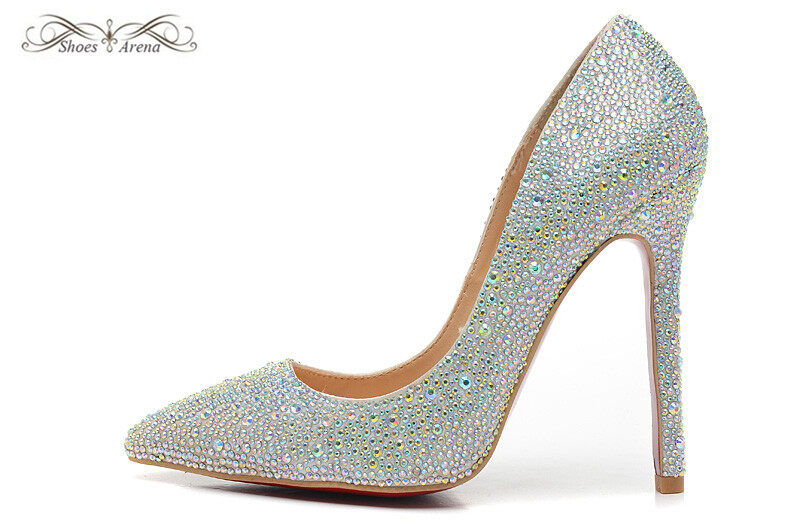 17ee98266c754 WBP983A Size 34-42 Women s 10cm 12cm High Heels Silver Canvas With White  Rhinestone Pumps
