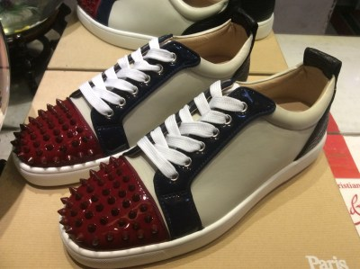 a5b25d359bd MBF997Zr Size 35-47 Men Women Gray Leather With Wine Red Spikes Toe Low Top