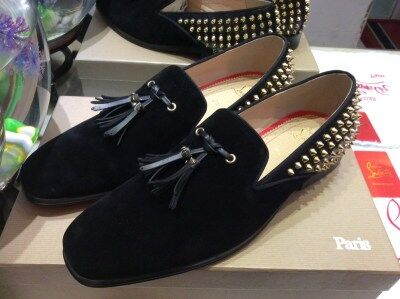 657b6ac70740 MBL998F Size 36-47 Men Women Black Suede Leather Gold Spikes With Tassel Square  Toe