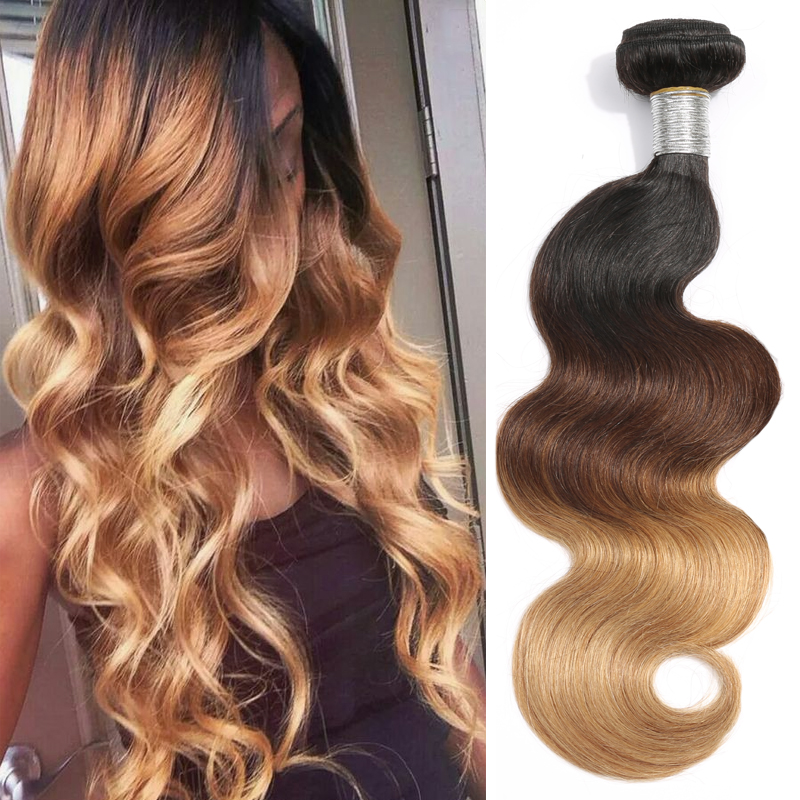 3pc T1b427 Ombre Hair Weave Bundles Body Wave 3 Tone Black Brown