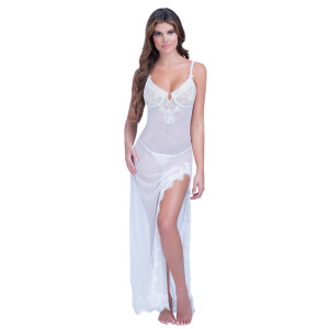 Sexy Sheer Mesh Spaghetti Straps Low-cut Side Split Slip Dress Long Gown N19280