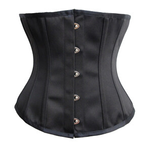 Retro Black 14 Steel Boned Busk Closure Waist Cincher Body Shaper Underbust Corset N19483