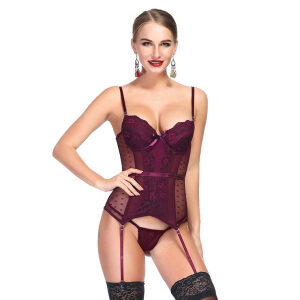 Sexy Wine Red Sheer Mesh and Lace Spaghetti Straps Stretchy Lingerie Bustier Corset N19200
