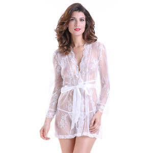 Sexy Sheer Floral Lace Flare Sleeve Thin Nightgown Bathrobe with Belt N18848