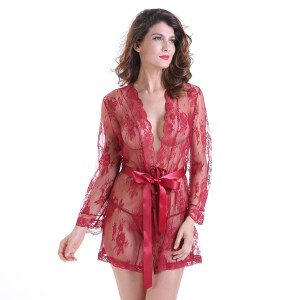 Sexy Sheer Floral Lace Flare Sleeve Thin Nightgown Bathrobe with Belt N18849