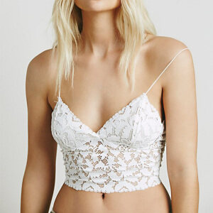 Sexy Sheer Floral Lace Low-cut Spaghetti Straps Lingerie Bra Crop Top N18912