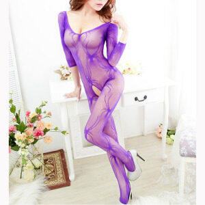 Purple Long Sleeve V Neck See-through Bodysuit Lingerie Crotchless Bodystocking BS16920