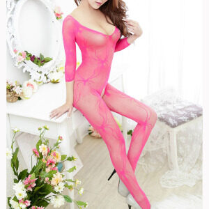 Rose Red Long Sleeve V Neck See-through Bodysuit Lingerie Crotchless Bodystocking BS16918