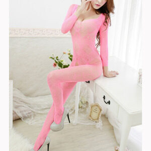 Sexy Pink Long Sleeve See-through Bodysuit Lingerie Crotchless Bodystocking BS16968