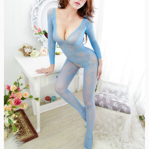 Sexy Light Blue Long Sleeve See-through Bodysuit Lingerie Crotchless Bodystocking BS16967