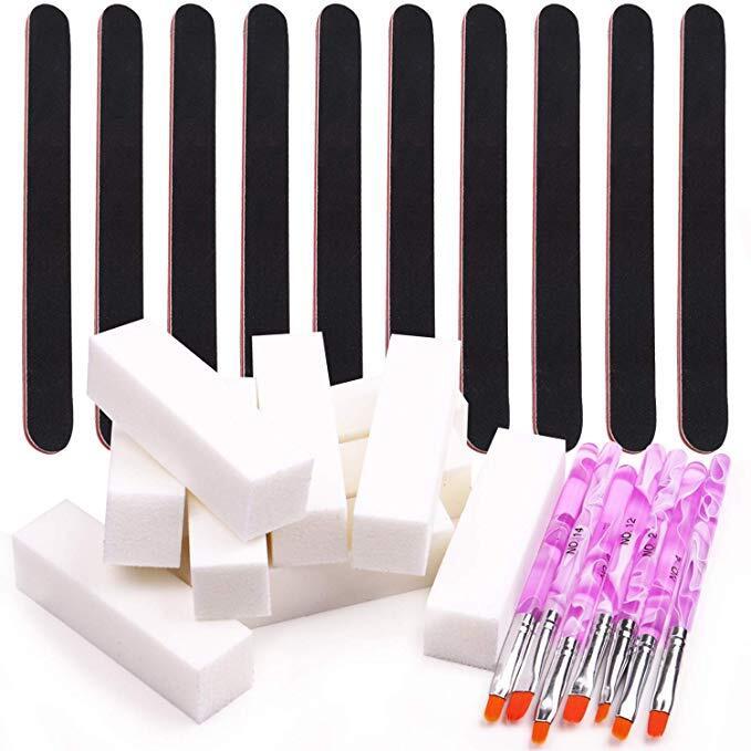 Best 7PCS Arylic Gel Nail Builder Brushes &10PCS 100/180 Grit Nail ...