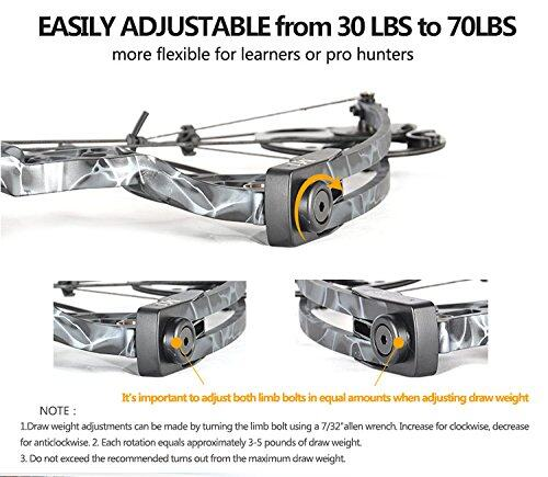 """Compound Bow Package, Archery Adults Hunting Accessories,Right Handed,19-30"""" Draw Length:15-70Lbs Draw Weight,IBO Rate 320fps 5"""