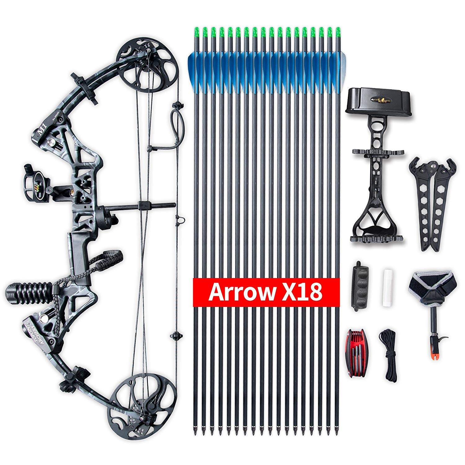 """Compound Bow Package, Archery Adults Hunting Accessories,Right Handed,19-30"""" Draw Length:15-70Lbs Draw Weight,IBO Rate 320fps 8"""