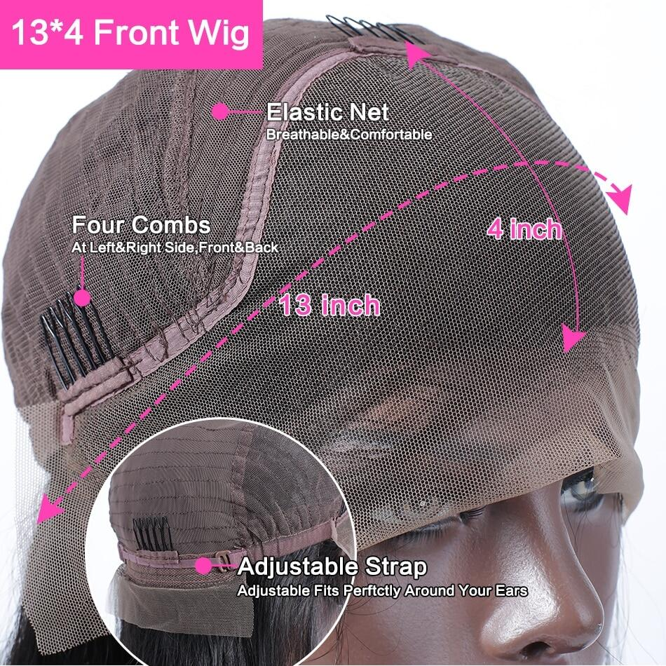 Brazilian Straight Glueless Frontal 13x4 Lace Front Human Hair Wigs Pre Plucked Virgin Human Hair For WomenBrazilian Straight Glueless Frontal 13x4 Lace Front Human Hair Wigs Pre Plucked