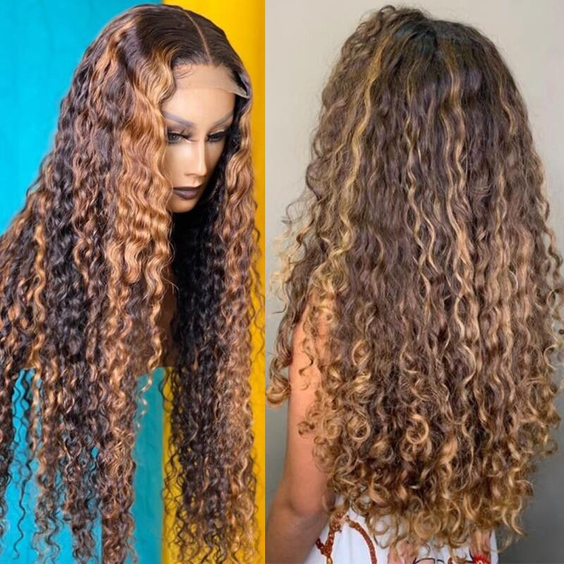 Goldenwigs curly Human Hair Wig Honey Blonde Ombre 13x1 Brazilian Brown Color Deep Water Wave Hd Full Frontal Highlight Bob Lace Front WigsCurly Human Hair Wig Honey Blonde Ombre 13x1 Brazilian Brown Color Deep Water Wave Hd Full Frontal Highlight Bob Lace Front Wigs