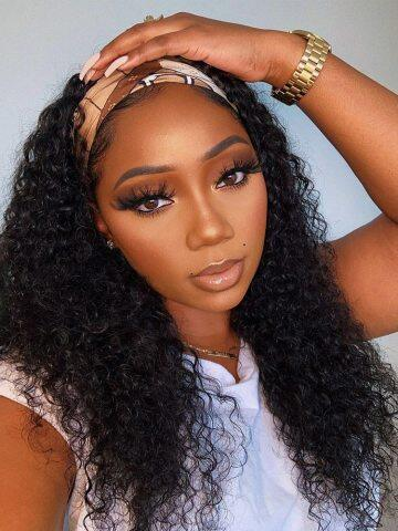 headband human hair wigs,lace front wigs,human hair curly wigs,
