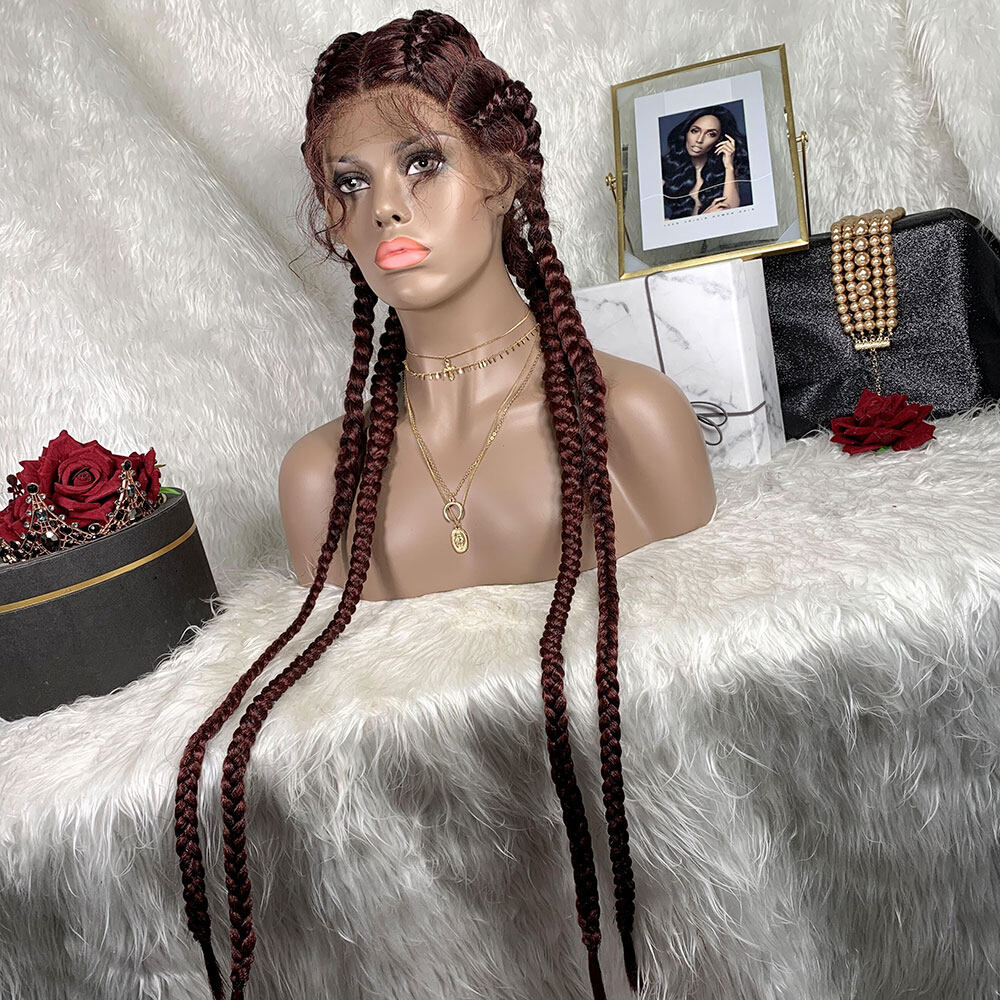 Braided Lace Front Wig African Glueless Box Braids Wig Women Tresse Cornrow Synthetic Lace Braided Wig Baby Hair For Black WomenBraided Lace Front Wig African Glueless Box Braids Wig Women Tresse Cornrow Synthetic Lace Braided Wig Baby Hair For Black Women