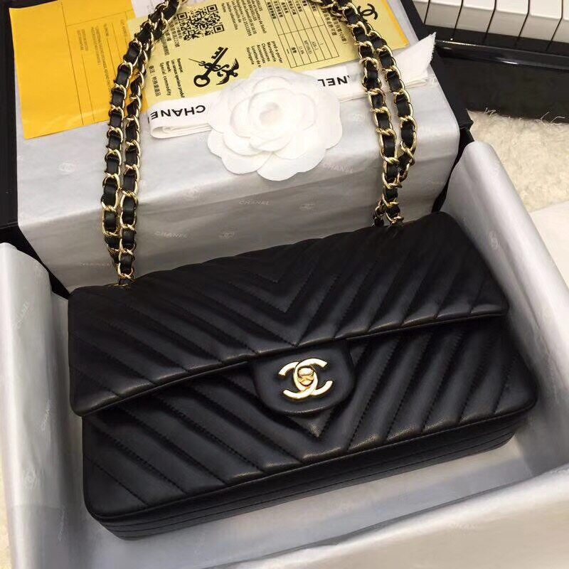 Coco Chanel Classic Flap Bag Medium Chevron Quilted 2 55