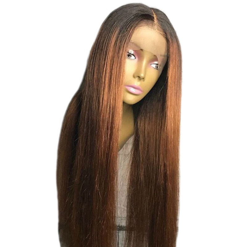 Colored 180% Density Ombre Human Hair Lace Front Wig Wavy 1B/30
