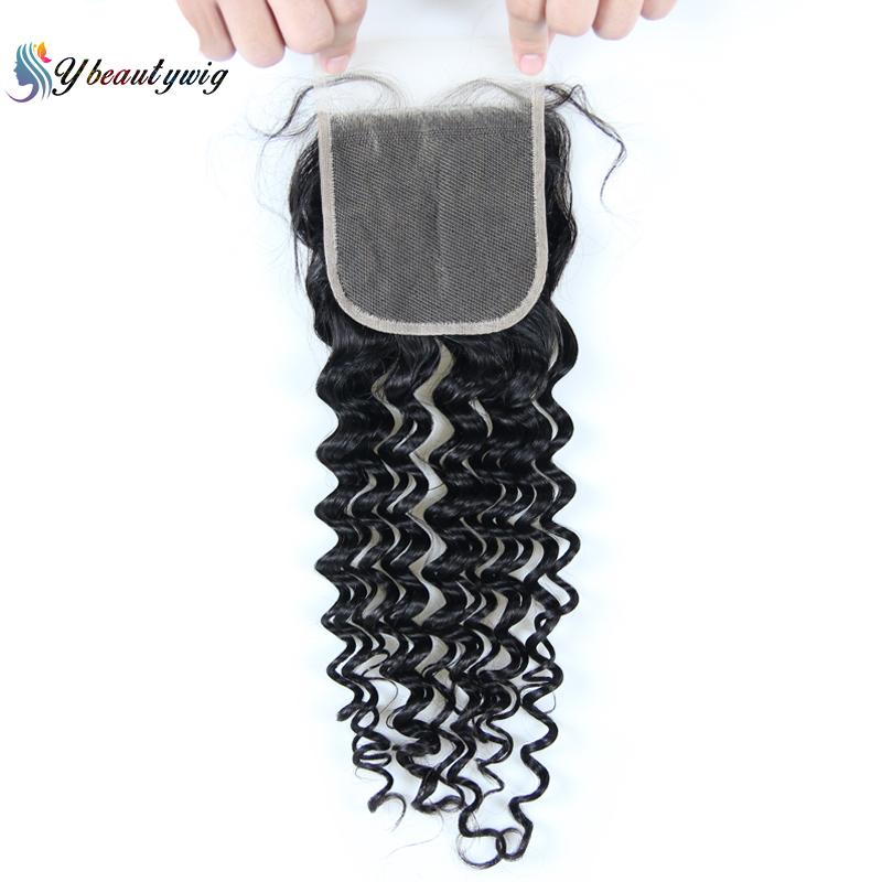 Transparent Lace Closures Deep Wave 4x4 Lace Closure Pre Plucked Brazilian Hair