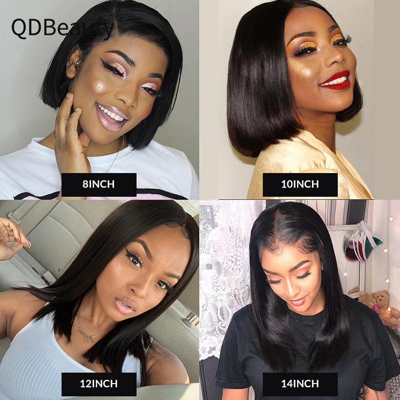 QDBeauty Hair 13x6 Lace Front Human Hair Wigs Straight Frontal Wig Virgin Bob Short Wigs