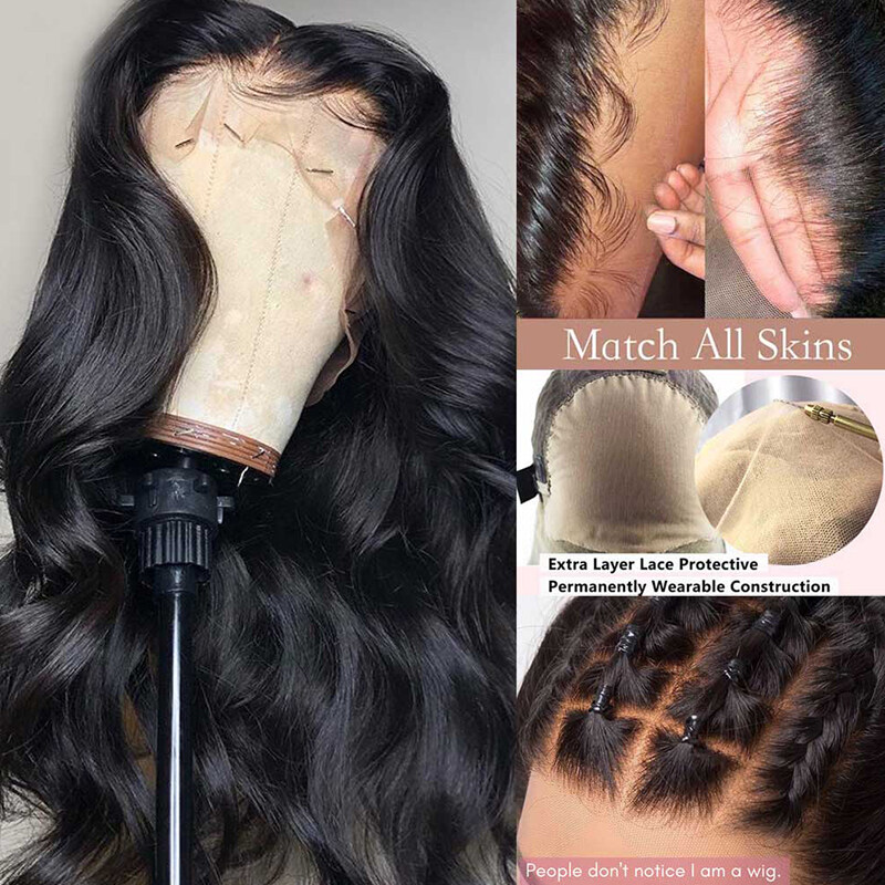 QDBeauty Hair Body Wave Fake Scalp Wig 13x6 Deep Lace Front Human Hair Wigs Invisible