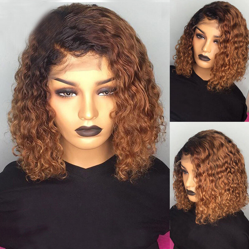 13X6 1B27 Blonde Colored Ombre Short Bob Cut Invisible Remy Lace Front Human Hair Wigs