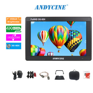 ANDYCINE A7 7 Inch IPS Screen 3G-SDI 4K HDMI Monitor with Power Adapter/SDI Cable/Carrying Case