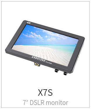 "AndyCine X7S 7"" IPS Full HD Ultra Bright Camera Field Monitor with Rugged CNC Aluminum Housing, Supports 3G-SDI, 4K HDMI Input/Output"