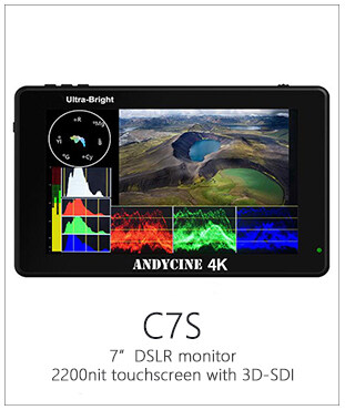 "AndyCine C7S 7"" Full HD 3G-SDI/HDMI Ultra-Bright Touchscreen Monitor with 3D LUTs, Waveform VectorScope"