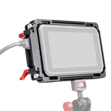 Andycine Monitor Cage with Built-in NATO Rail and Extra HDMI Cable Clamp Sunhood for Atomos Monitor Ninja V and Shinobi