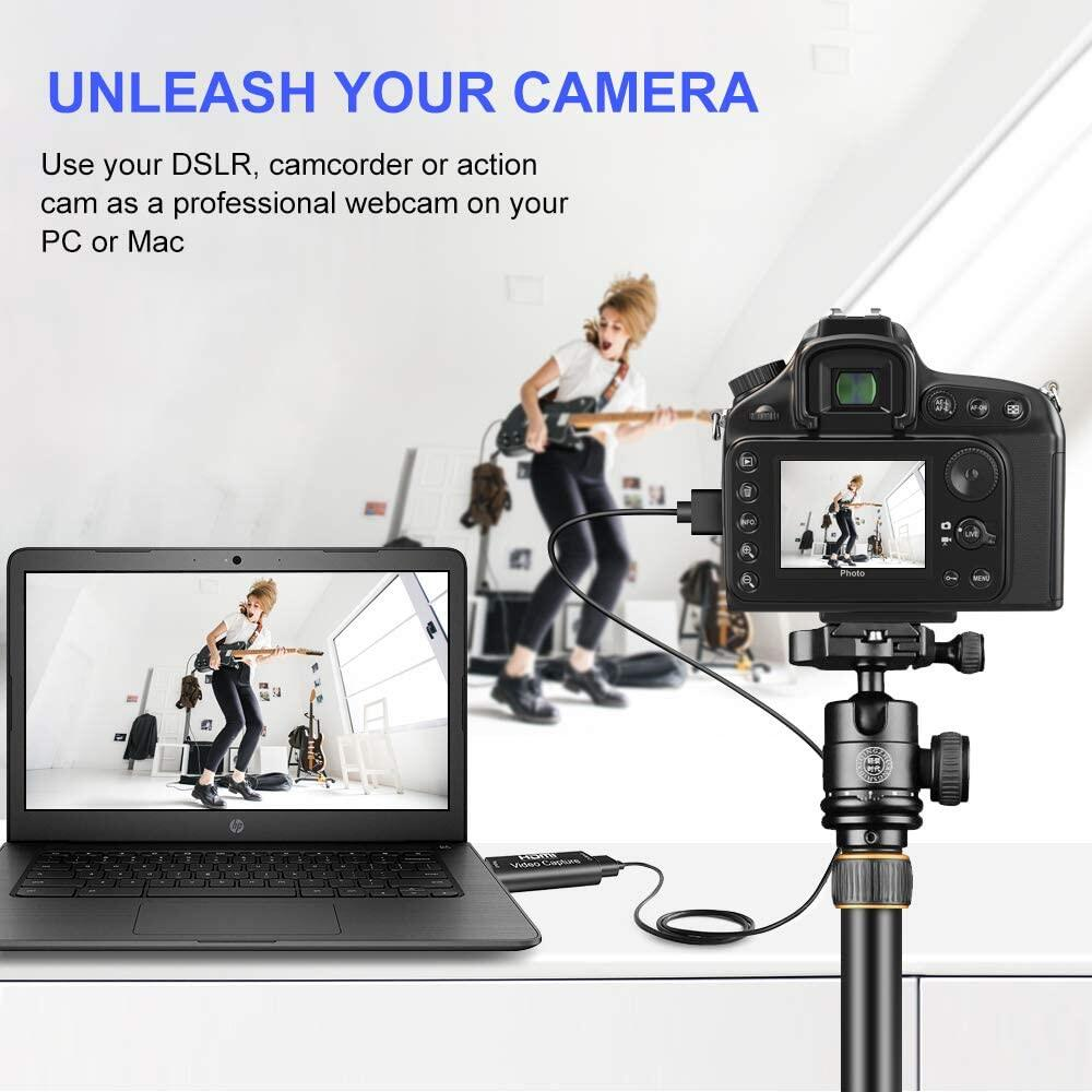 Video Capture Cards HDMI to USB 1080p Video Record via DSLR,Camcorder Live Streaming Gaming Teaching Live Broadcasting Video Conference Action Cam for High Definition Acquisition 1080P