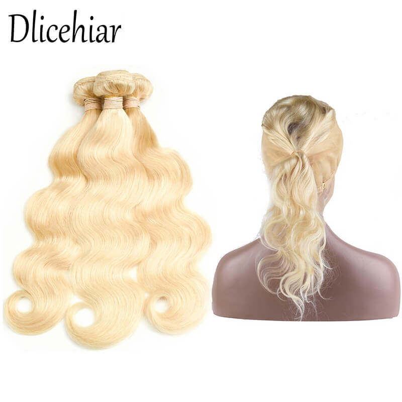[10A 3+1] 100% human hair #613 Brazilian Body Wave Blonde bundles with frontal Closure 0