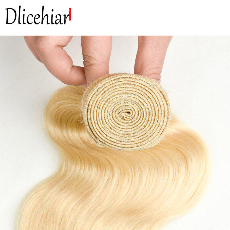[10A 3+1] 100% human hair #613 Brazilian Body Wave Blonde bundles with frontal Closure 1