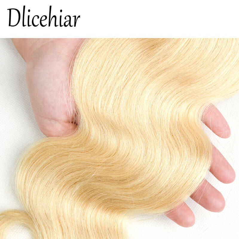 [10A 3+1] 100% human hair #613 Brazilian Body Wave Blonde bundles with frontal Closure 2